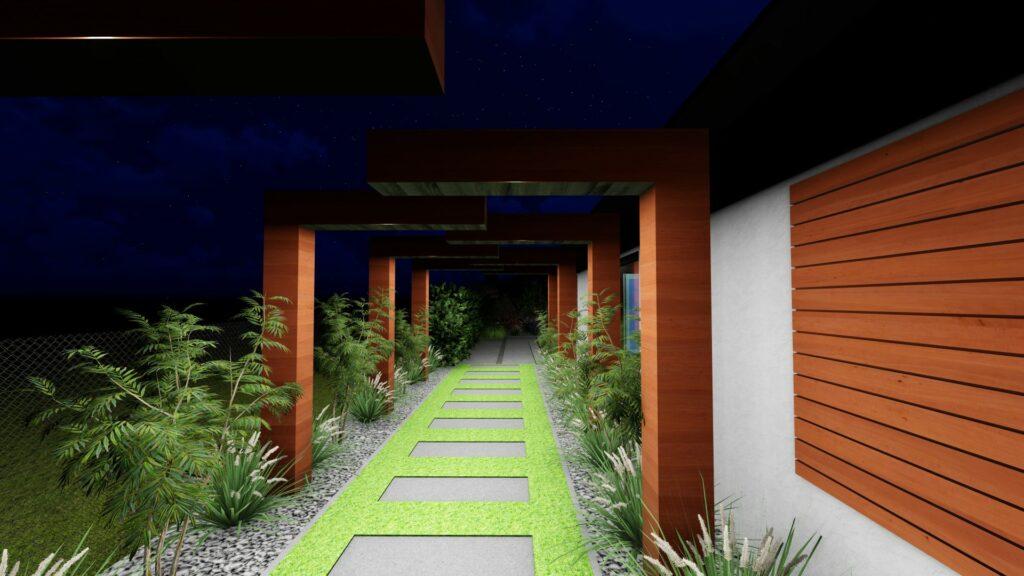 nawierzchnia w ogrodzie betonowe płyty projekt ogrodu